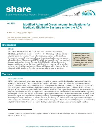 Modified Adjusted Gross Income: Implications for Medicaid ... - Shadac