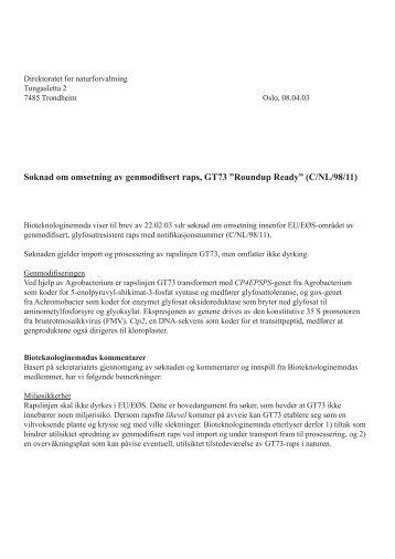 """Søknad om omsetning av genmodifisert raps, GT73 """"Roundup Ready"""""""