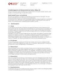 Umweltbericht - Cendres & Métaux SA