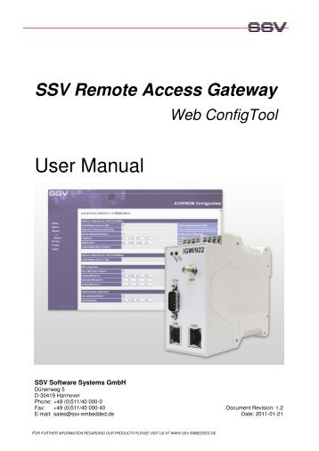 User Manual Web ConfigTool - SSV Software Systems