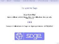 Le système Sage - Sites personnels de TELECOM ParisTech