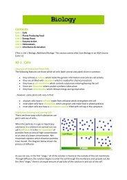 Contents B2-1 : Cells - Millthorpe School York