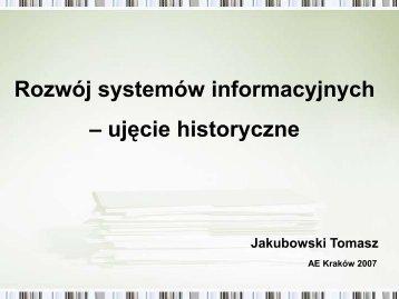 Rozwój systemów informacyjnych – ujęcie historyczne