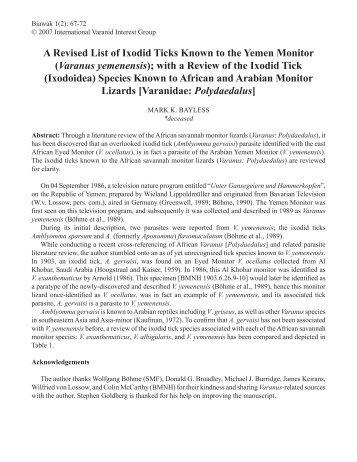 A Revised List of Ixodid Ticks Known to the Yemen Monitor (Varanus ...