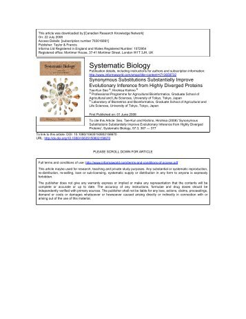 Systematic Biology - Molecular Evolution