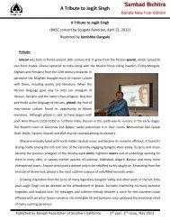 A Tribute to Jagjit Singh - BASC - Bengali Association of Southern ...