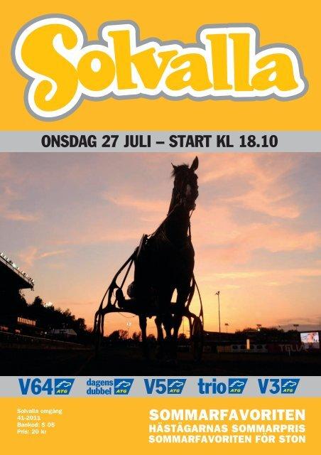 ONSDAG 27 JULI – START KL 18.10 - Solvalla