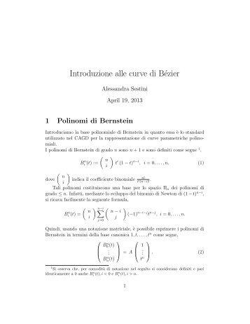 polinomi di Bernstein e curve di Beziér