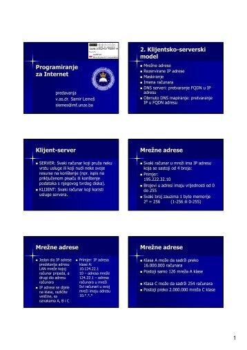 Programiranje za Internet 2. Klijentsko-serverski model Klijent ...