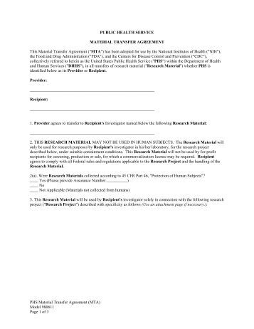 Material Transfer Agreement Mta