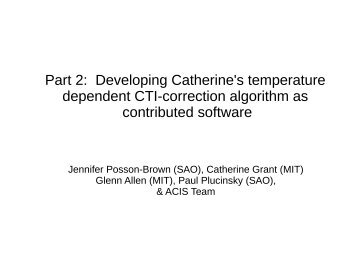 Part 2: Developing Catherine's temperature dependent CTI ...