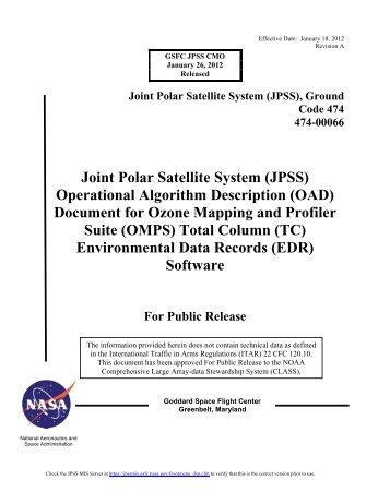 (OAD) Document for Ozone Mapping and Profiler Suite ... - NASA