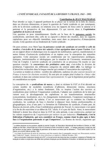 Jean Magniadas - Institut d'Histoire Sociale CGT