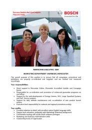 MARKETING EXECUTIVE- 3594 MARKETING ... - Bosch-Career