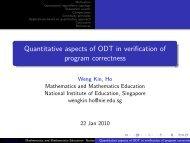 Quantitative aspects of ODT in verification of program correctness