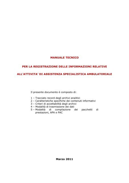 manuale tecnico per la registrazione delle informazioni relative all ...