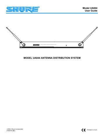 Model UA844 User Guide MODEL UA844 ANTENNA ... - Now Sound