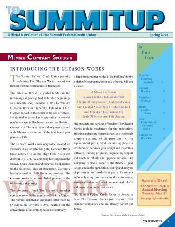 introducing the gleason works - The Summit Federal Credit Union