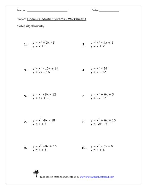 Linear-Quadratic Systems Five Pack - Math Worksheets Land
