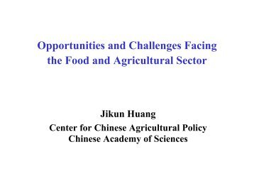 Opportunities and Challenges Facing the Food and Agricultural Sector