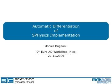 Automatic Differentiation of SPHysics Implementation - Autodiff.org