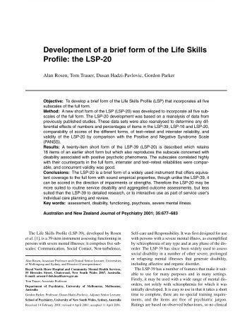 Development of a brief form of the Life Skills Profile: the LSP-20