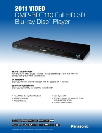 2011 VIDEO DMP-BDT110 Full HD 3D Blu-ray Disc ... - Radio Shack