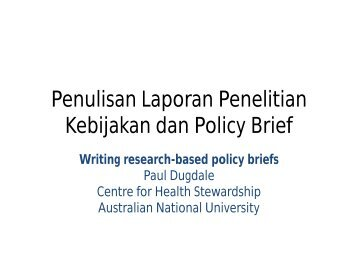 Penulisan Laporan Penelitian Kebijakan dan Policy Brief
