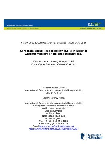 Corporate Social Responsibility (CSR) in Nigeria: western mimicry ...