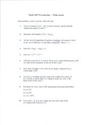 Math 007 Precalculus k Final exam Each problem is worth ... - COAS