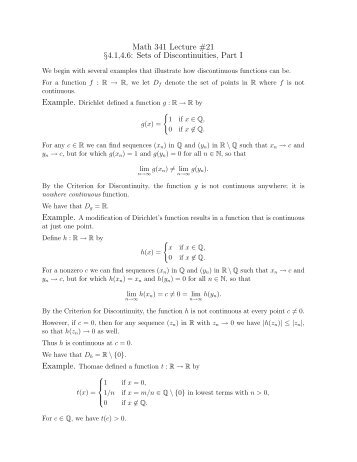 Math 341 Lecture #21 §4.1,4.6: Sets of Discontinuities, Part I