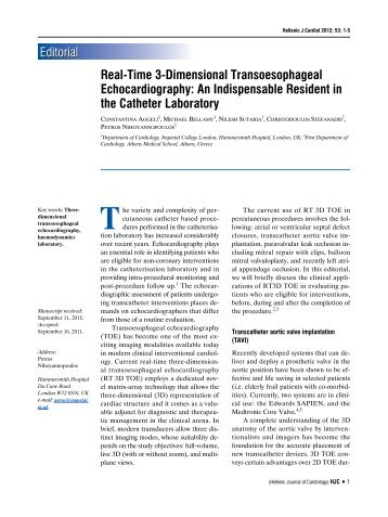 Real-Time 3-Dimensional Transoesophageal Echocardiography: An ...