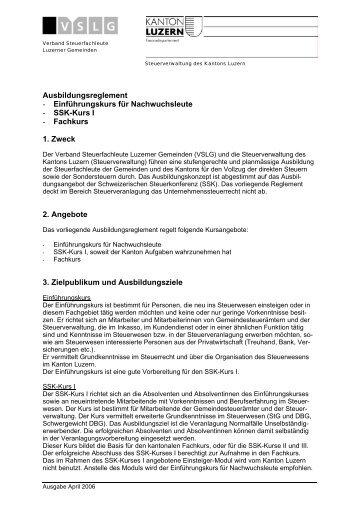Ausbildungsreglement - Steuern Luzern - Kanton Luzern