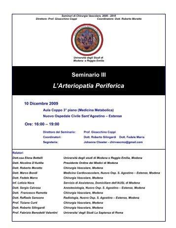 Seminario III L'Arteriopatia Periferica - Policlinico di Modena