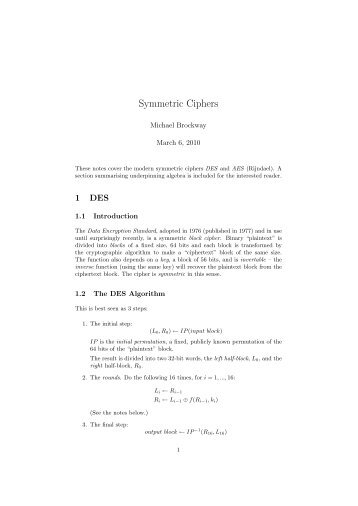 Symmetric Ciphers - School of Computing, Engineering and ...