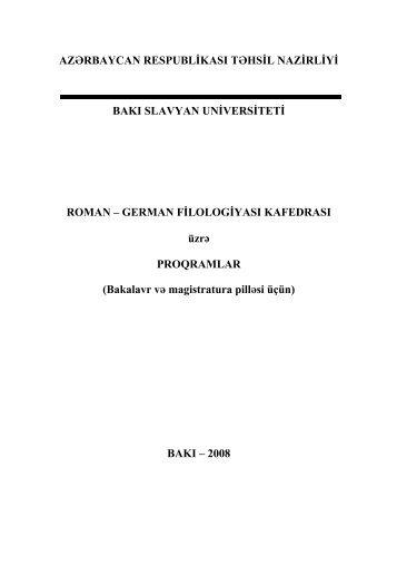 ÀÇßÐÁÀÉÚÀÍ ÐÅÑÏÓÁËÈÊÀÑÛ ÒßÙÑÈË - Bakı Slavyan Universiteti