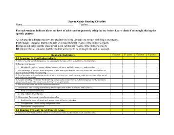 Second Grade Reading Checklist