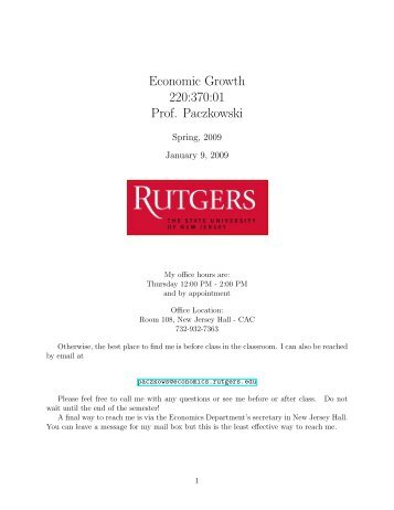 Syllabus - Department of Economics - Rutgers, The State University ...