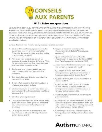 CONSEILS AUX PARENTS CONSEILS AUX ... - Autism Ontario