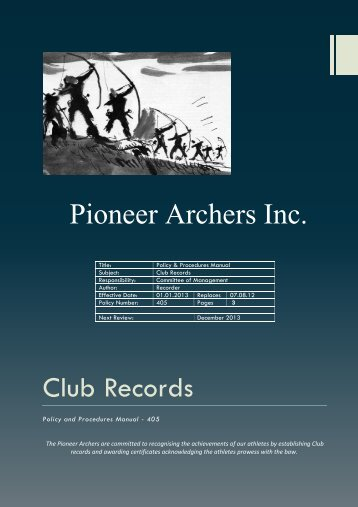 Club Records Pioneer Archers Inc.