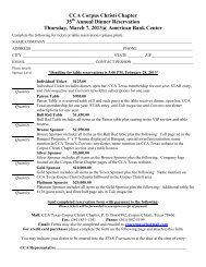Banquet Table and Reservation Form - CCA Texas