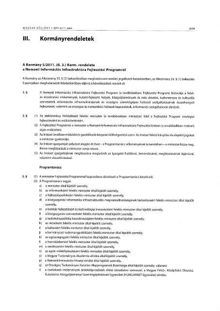 A Kormány 5/2011. (II. 3.) - Niif