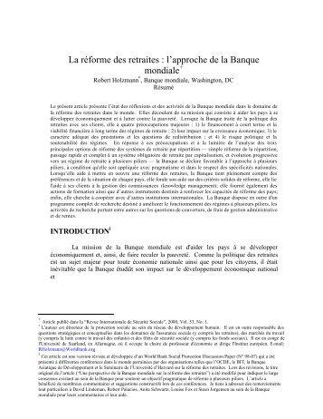 Retraites et Banque mondiale - World Bank Internet Error Page ...