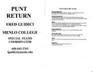 Menlo College Punt Return