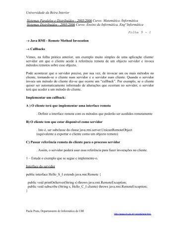 FP09 - Departamento de Informática da Universidade da Beira ...