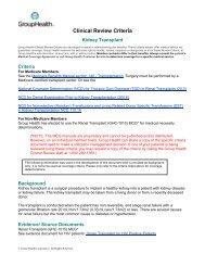 Kidney Transplant - Group Health Cooperative
