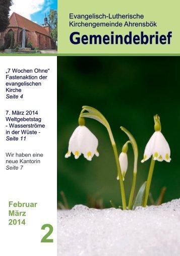 Gemeindebrief Februar März 2014 - in der Kirchengemeinde ...