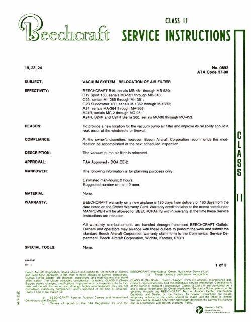SERVICE INSTRUCTIONS - Beech Aero Club