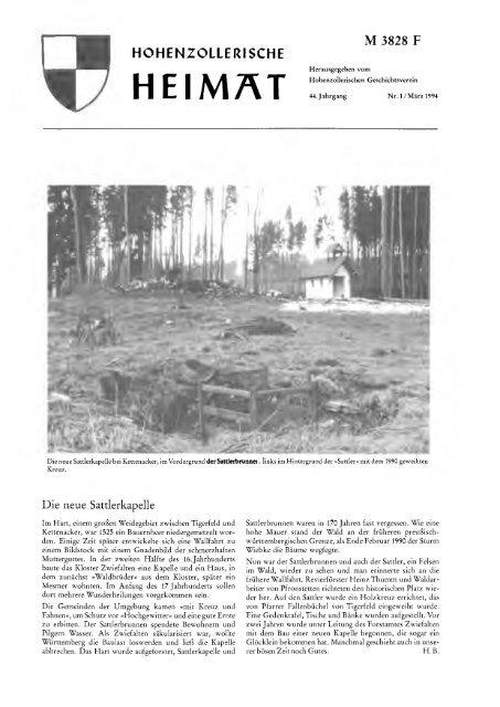 M 3828 Hohenzollerische Heimat Hohenzollerischer