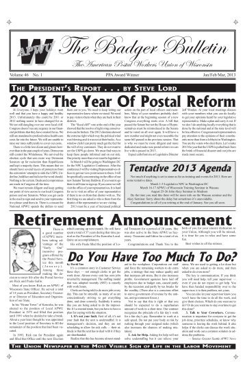 Jan/Feb/Mar 2013 Badger Bulletin - American Postal Workers Union ...
